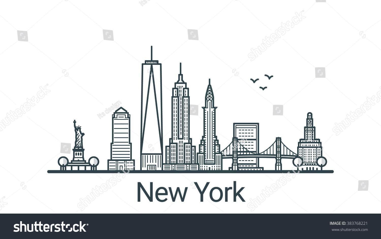 Line Art New York : Royalty free linear banner of new york city all