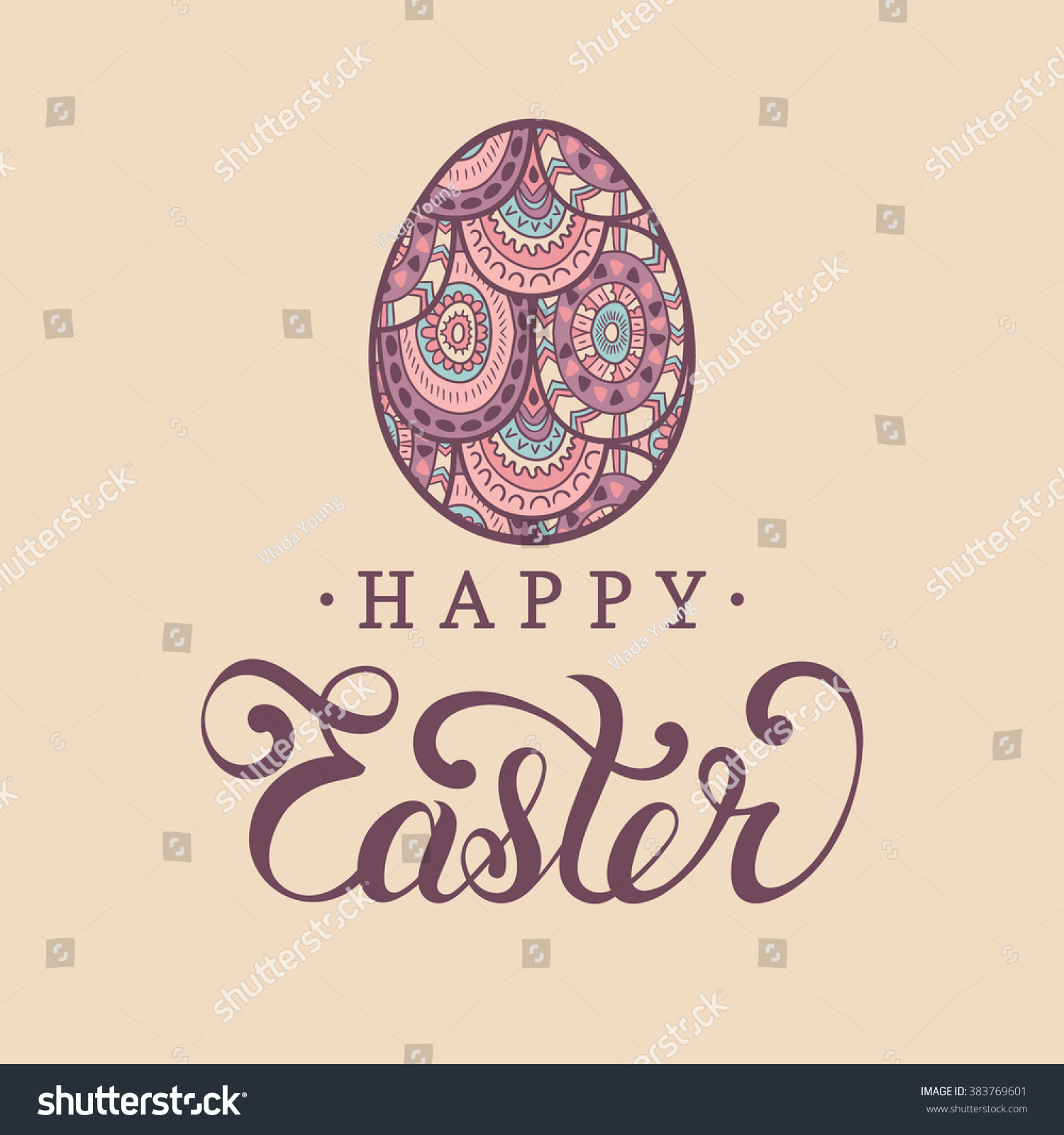 Happy Easter Greeting Card Egg Religious Stock Vector Royalty Free