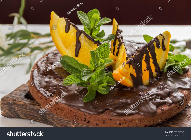 Chocolate Cake Chocolate Frosting Orange Slicesmint Stock