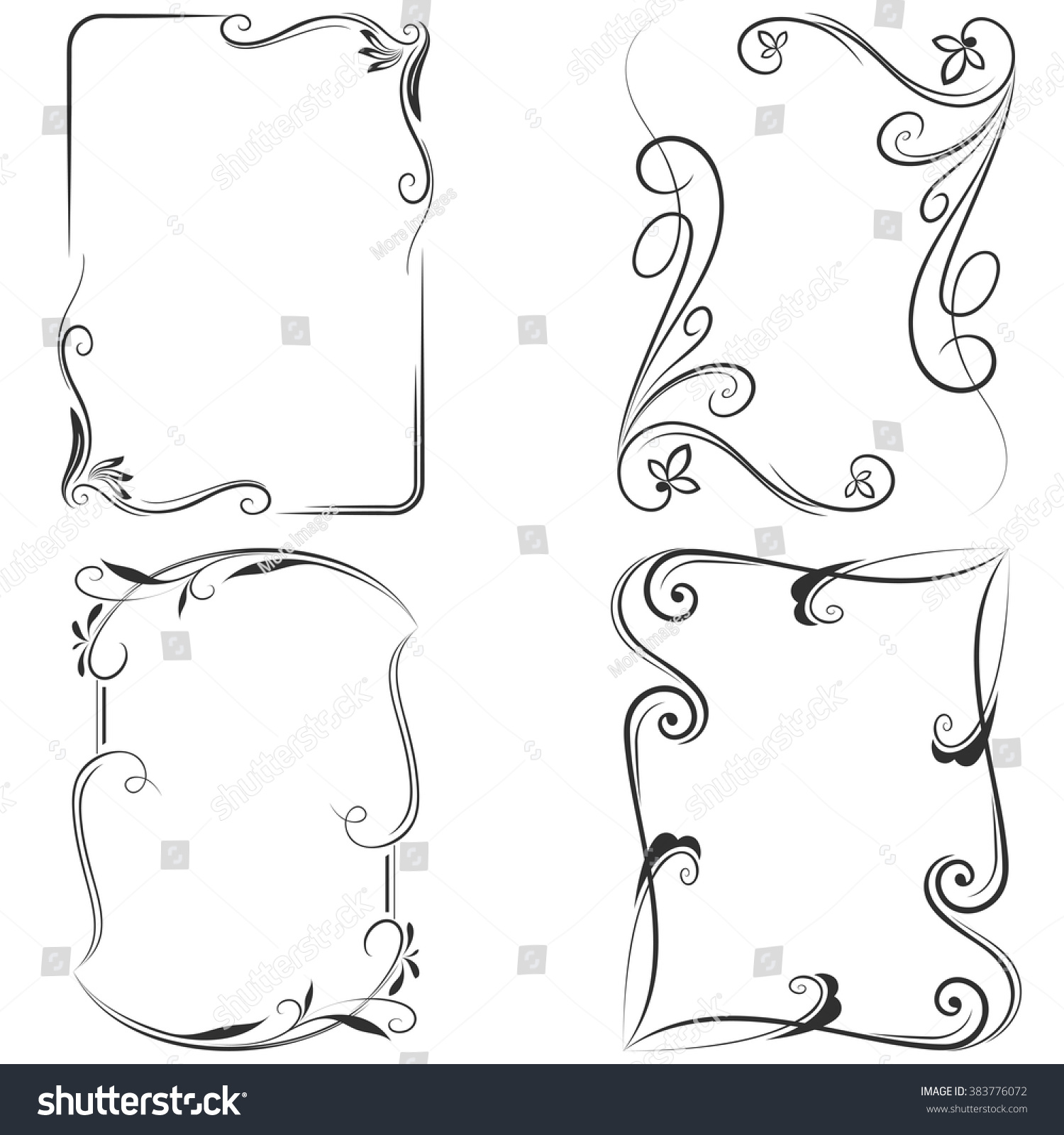 Black White Floral Vector Frame Templates Stock Vector HD (Royalty ...