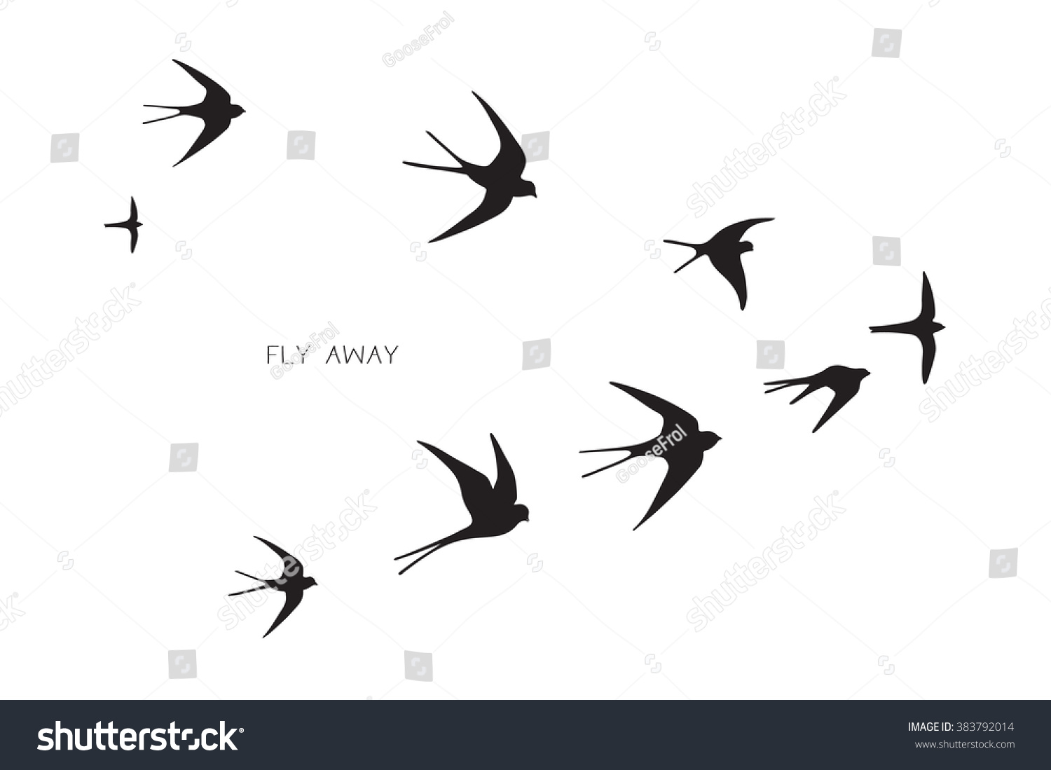 Flock Birds Silhouette Swallow 383792014