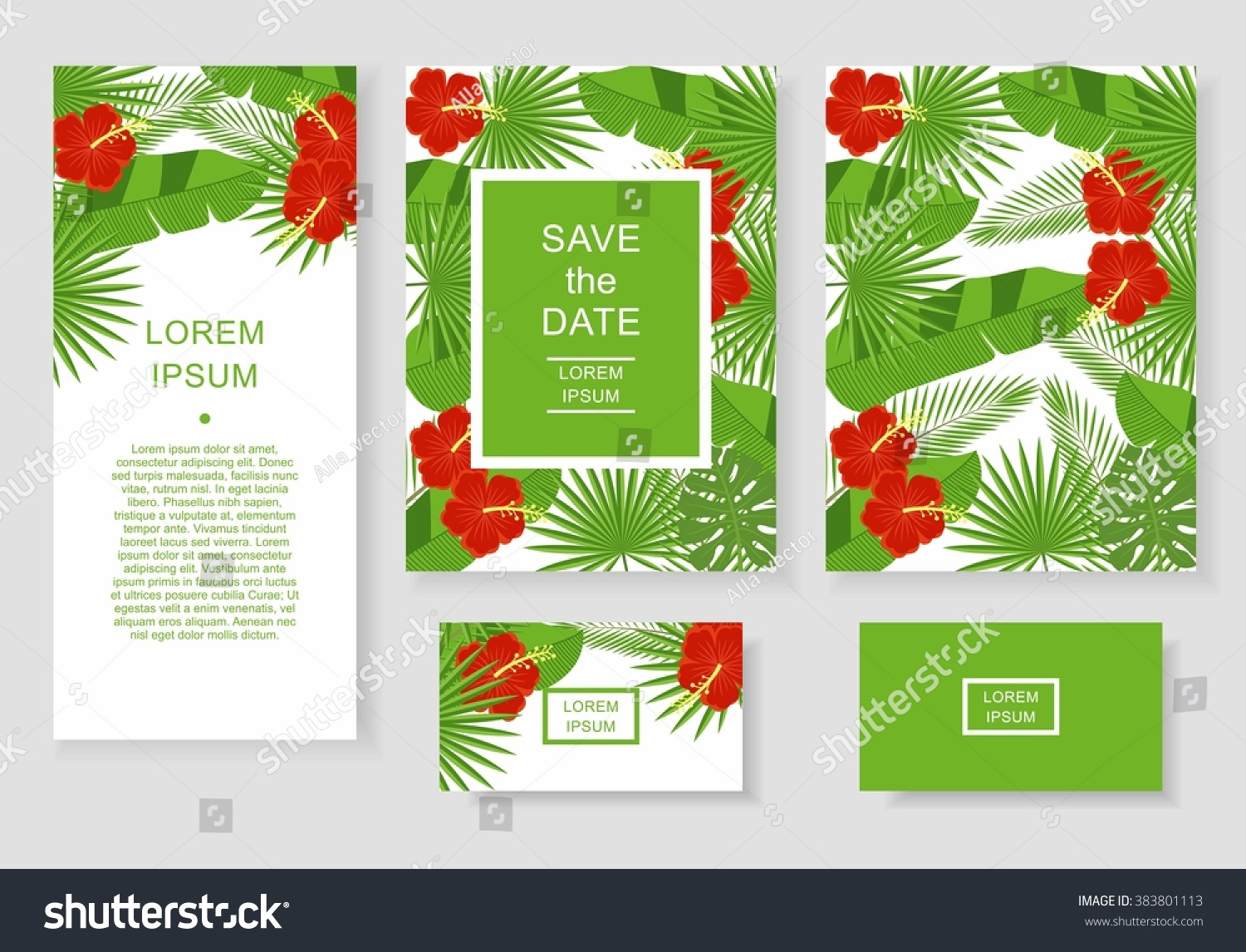 Template Tropical Flowers Leaves Pattern Flyer Stock Vector ...