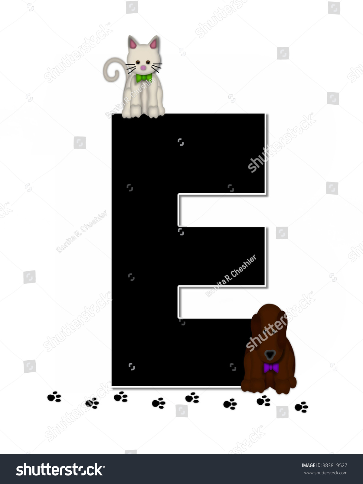 Letter E Alphabet Set Children Pet Stock Illustration