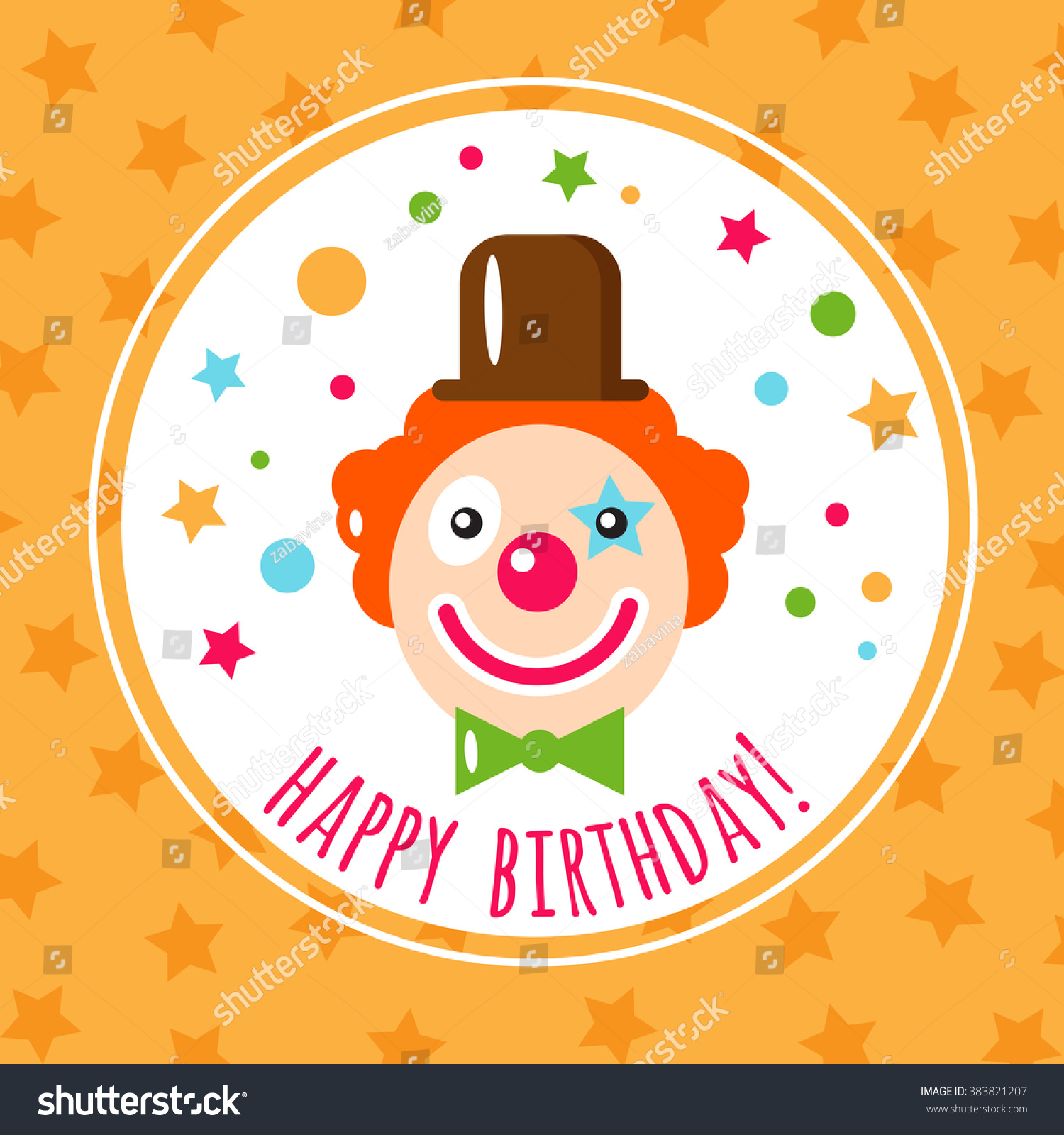 Vector Flat Holiday Background Clown Smile Vector 383821207 – Clown Birthday Cards