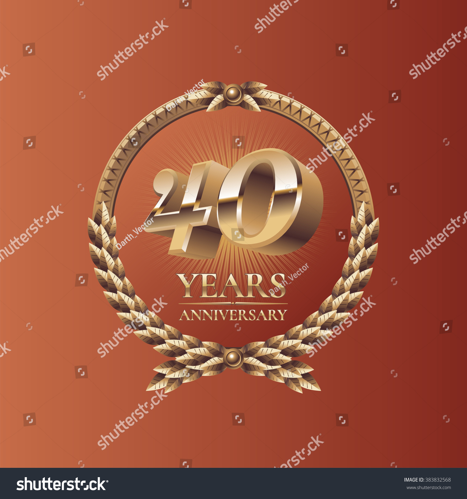 40 Years Anniversary Celebration Icon Symbol Stock Vector Royalty