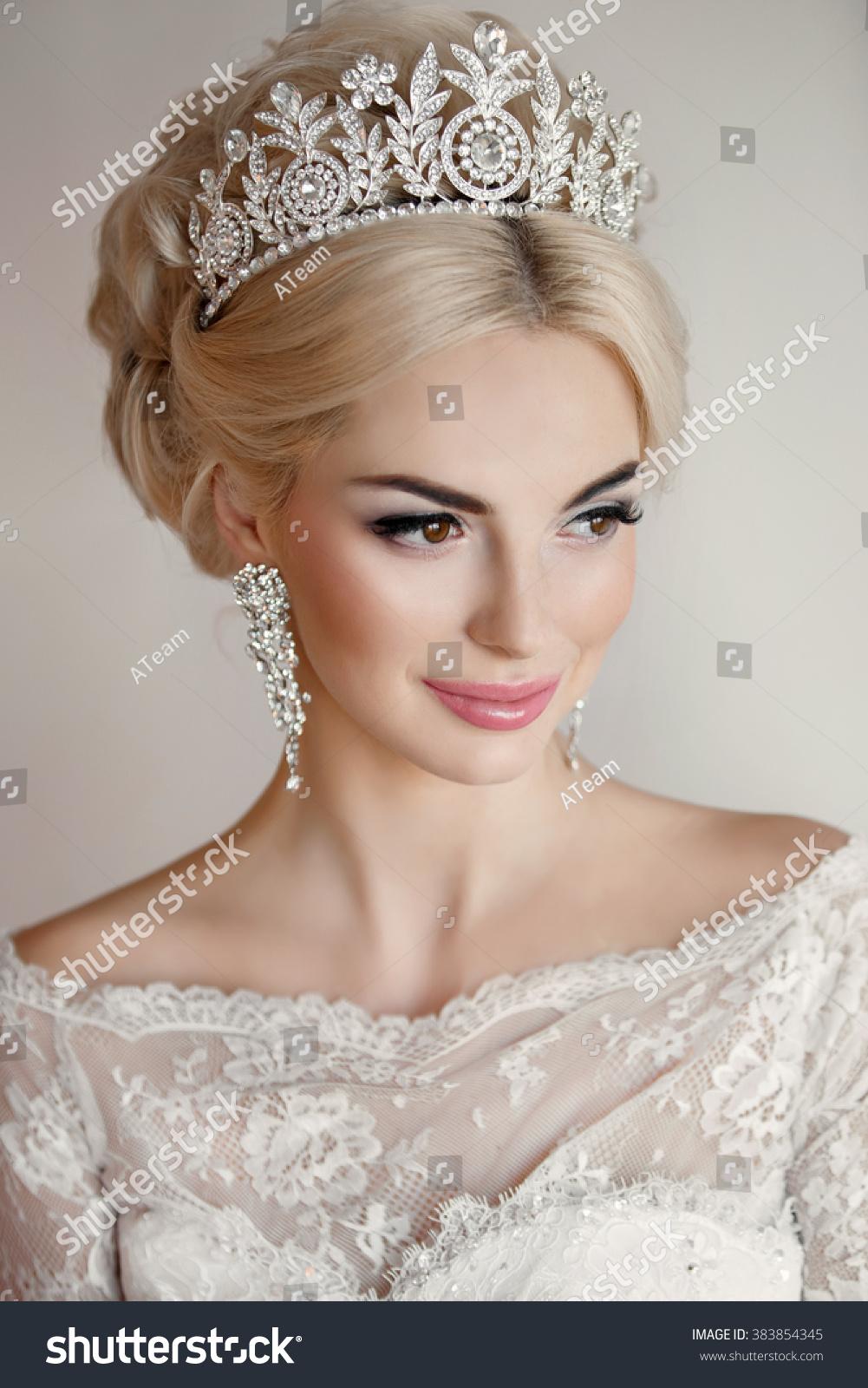 beautiful bride portrait wedding makeup hairstyle stock photo