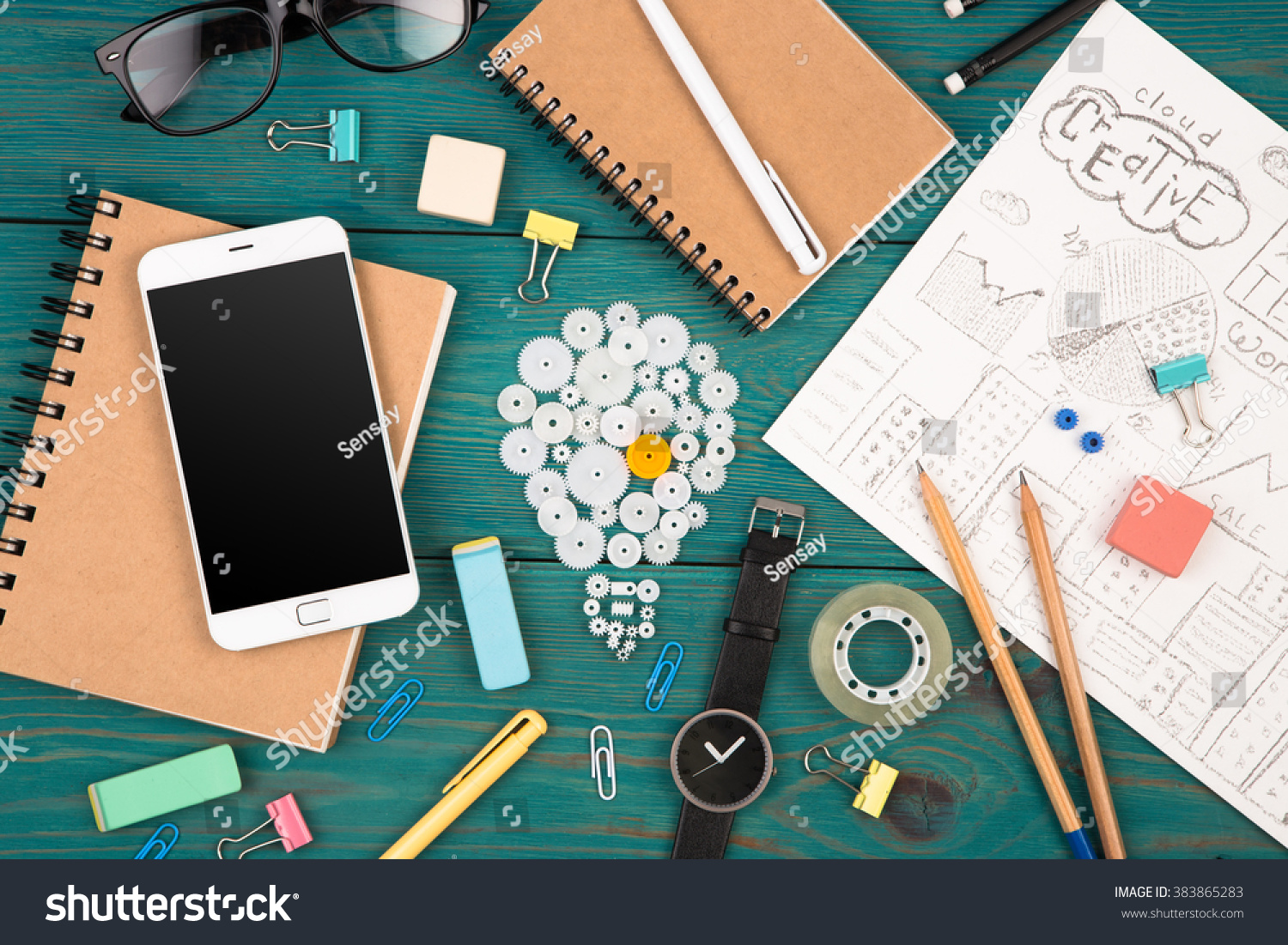 Idea Concept Phone Watch Notepads Pencils Stock Photo