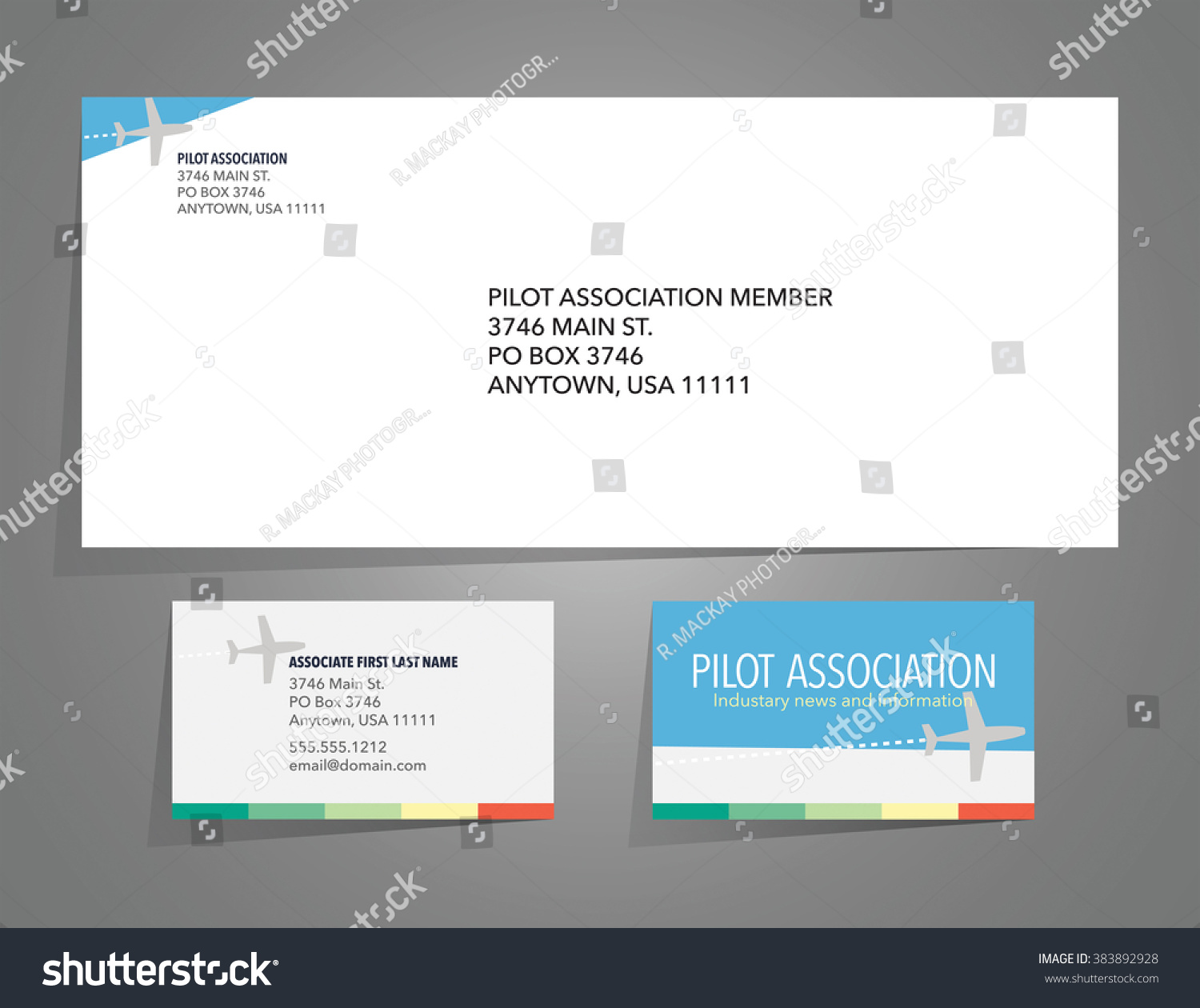 Envelope Business Card Layout Airplane Theme Stock Vector ...
