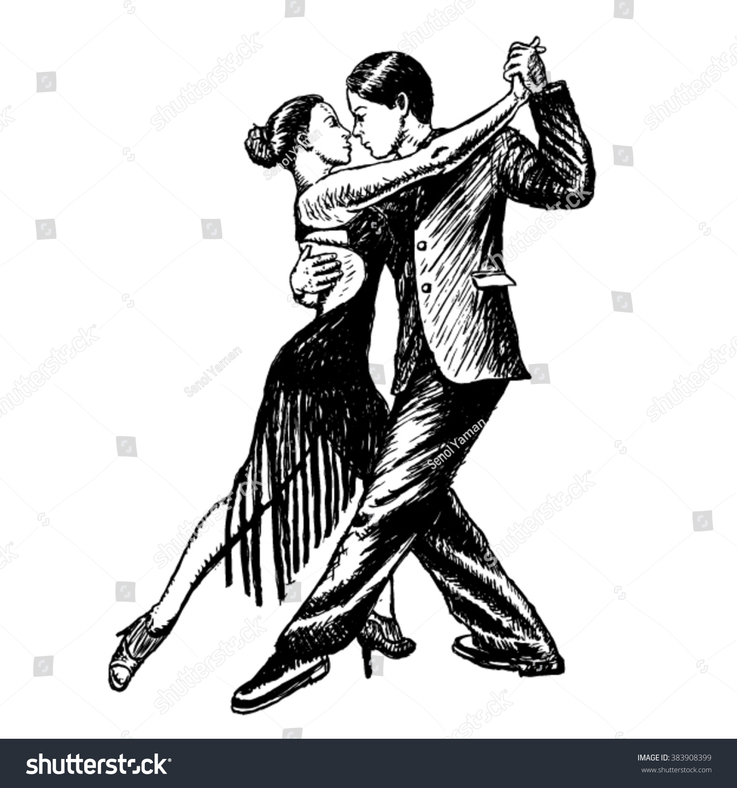 Latin dancing couple dancing vector sketch on a white background