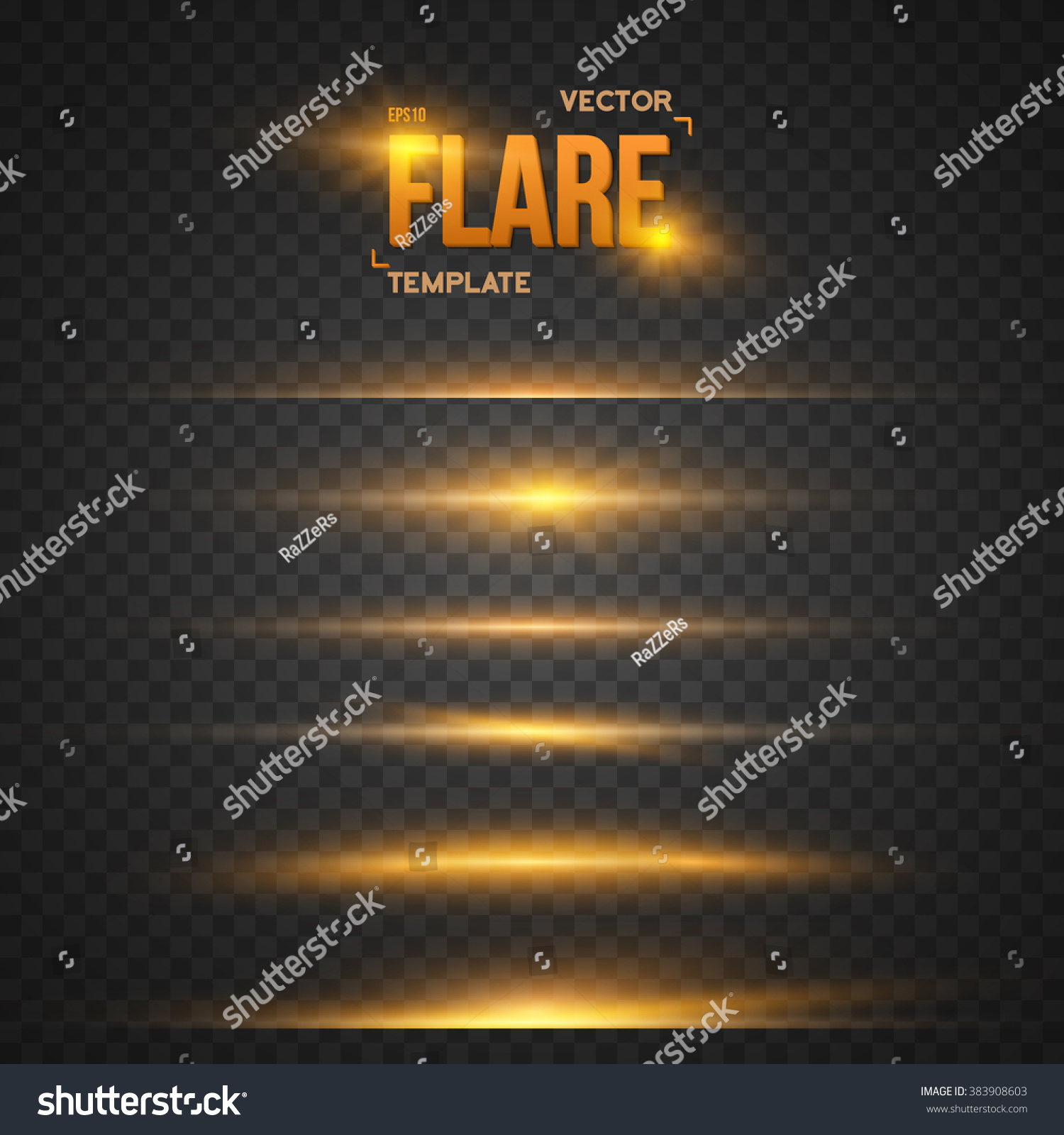 Illustration of Vector Flare Effect Transparent Vector Overlay Lens Flare Ray Effect Vector EPS10 Bright Sunflare Explosion Template