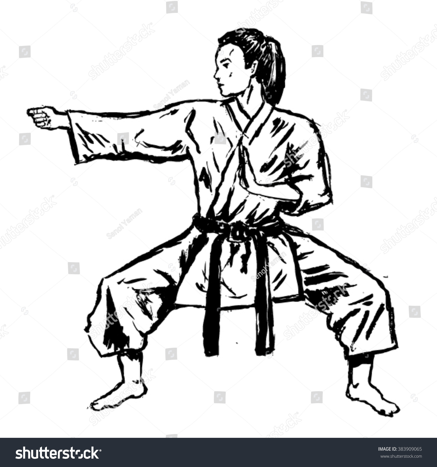 Karate Girl Sketch Vector Stock Vector Royalty Free 383909065