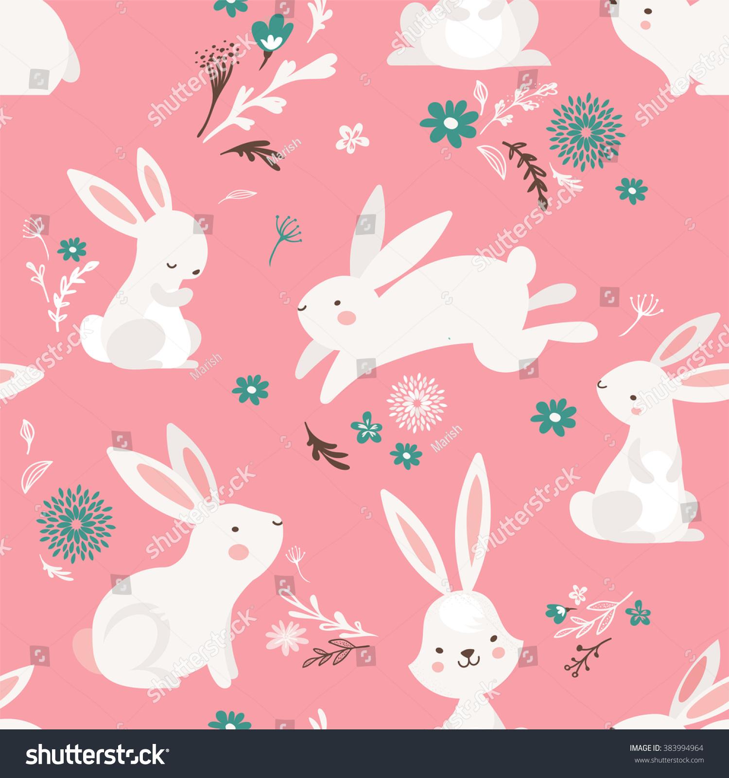 easter seamless pattern design bunnies stock vector 383994964