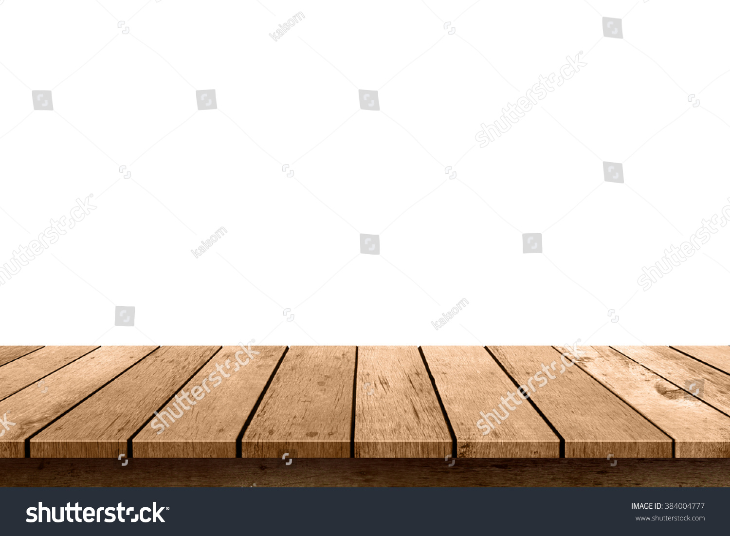 Empty Wooden Table Top Isolated Stock