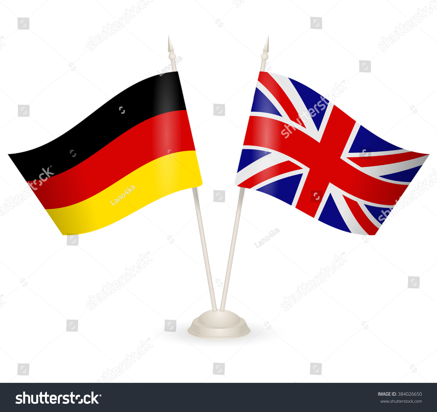 table stand flags england germany symbolizing stock vector