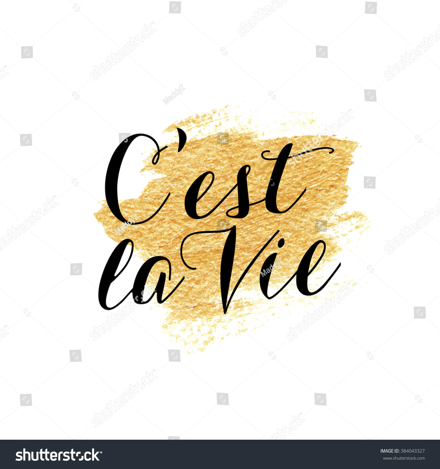 C Stock Quote Cest La Vie French Quote Lettering Stock Vector 384043327