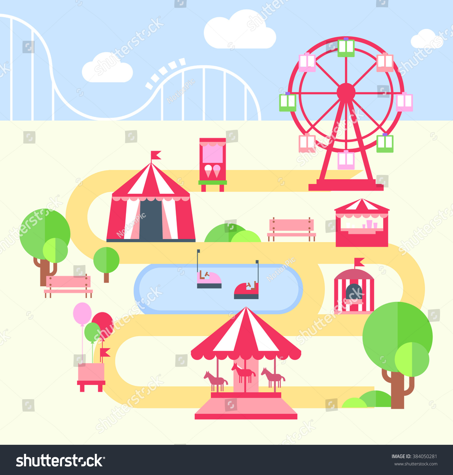 Amusement Park F Lat Vector Illustartion Elements Stock Catapult Diagram Viewing Gallery Flat For Infographics