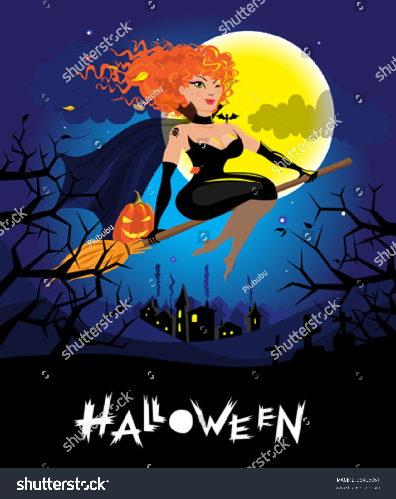 Halloween Card With Sexy Red Haired Witch Flying Over The Village