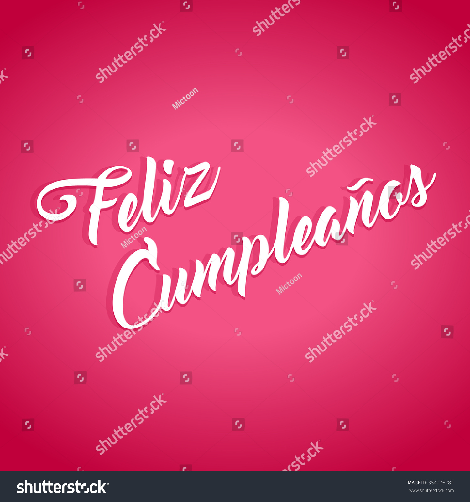 Feliz Cumpleanos Happy Birthday Hand Lettering Stock Vector