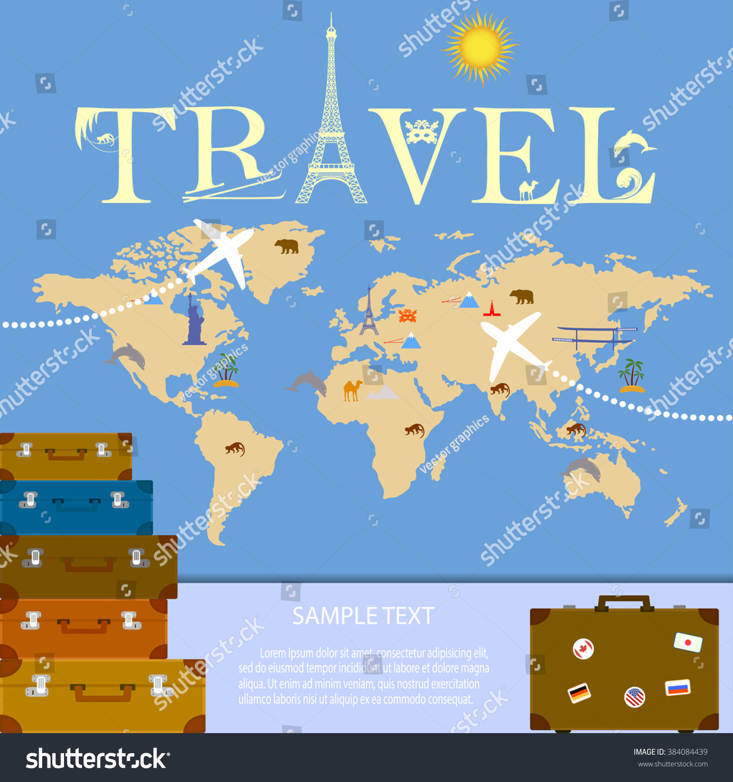 Creative logo travel company travel tourism stock vector 384084439 creative logo for travel company travel and tourism worldwide world map with landmarks for gumiabroncs Choice Image
