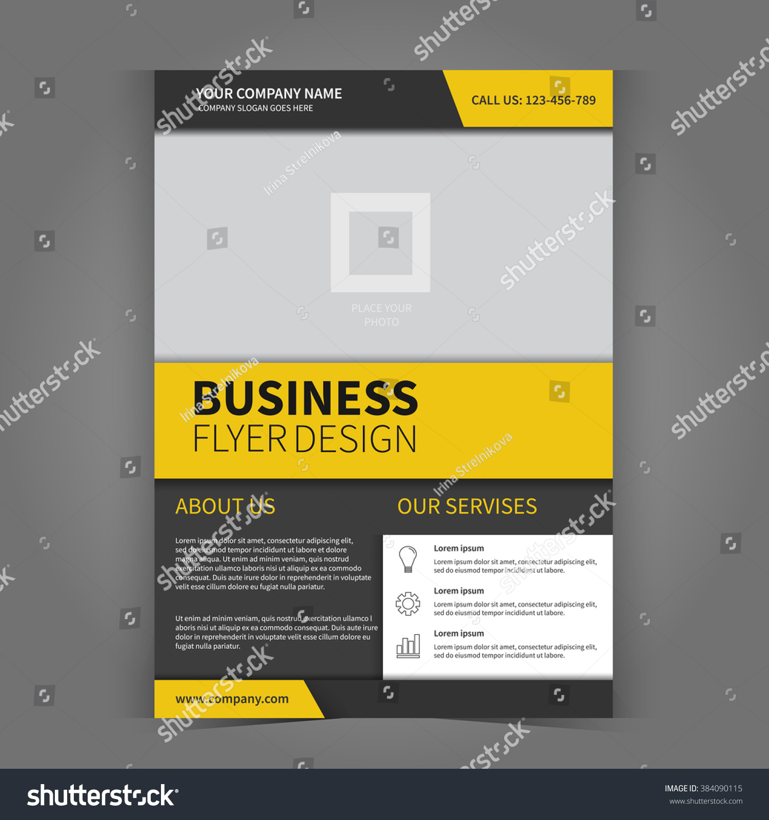 vector business flyer template design flyer stock vector  vector business flyer template design flyer place for pictures poster template for your