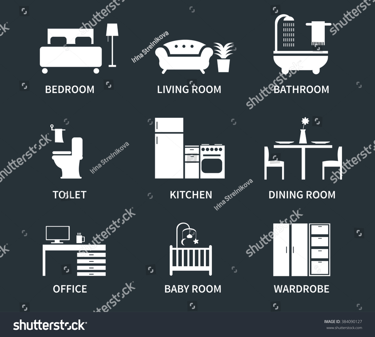 Home Interior Design Icons Bedroom Living Stock Vector 384090127 Shutterstock