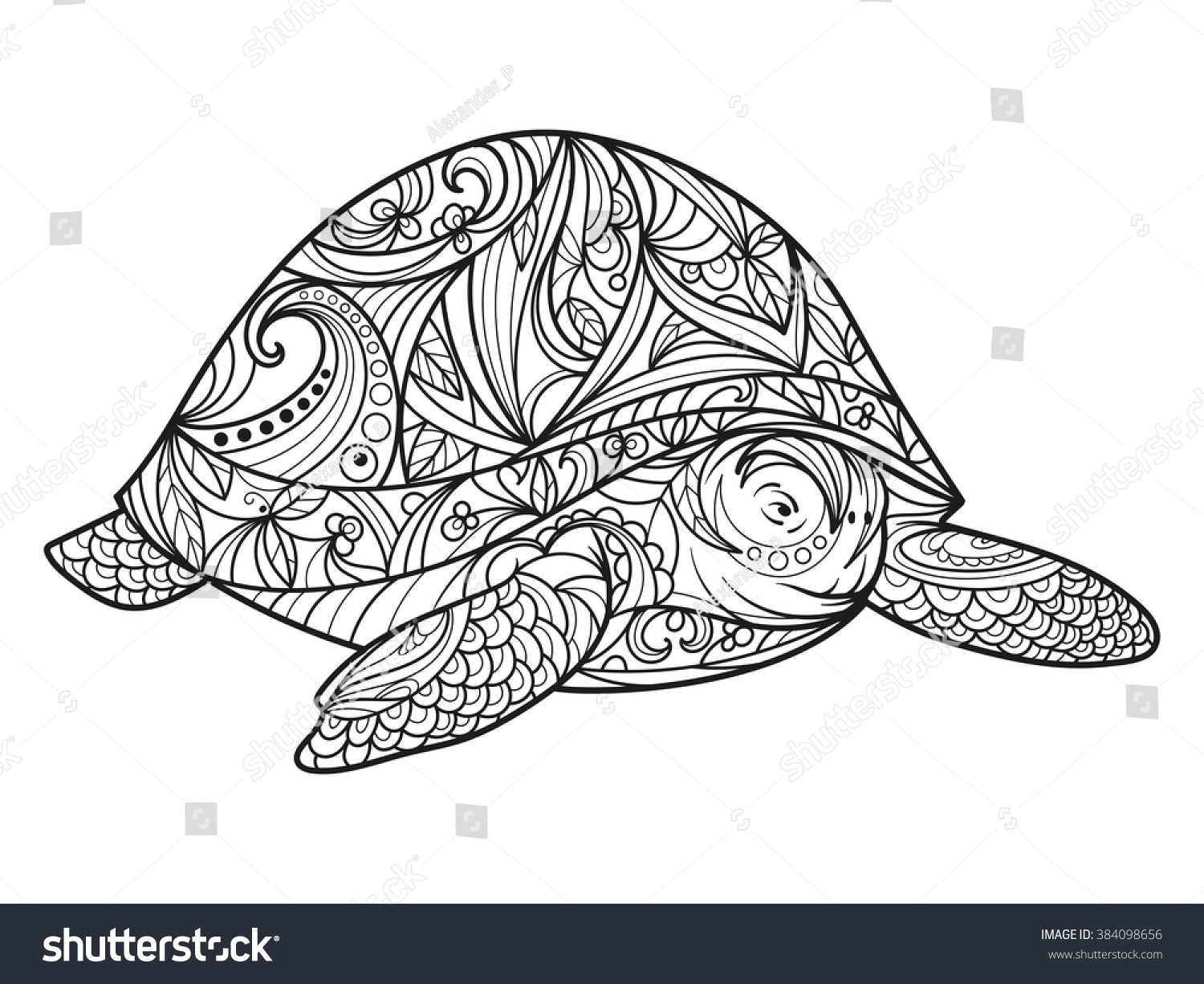 Turtle Coloring Book Adults Vector Illustration Stock Vector ...