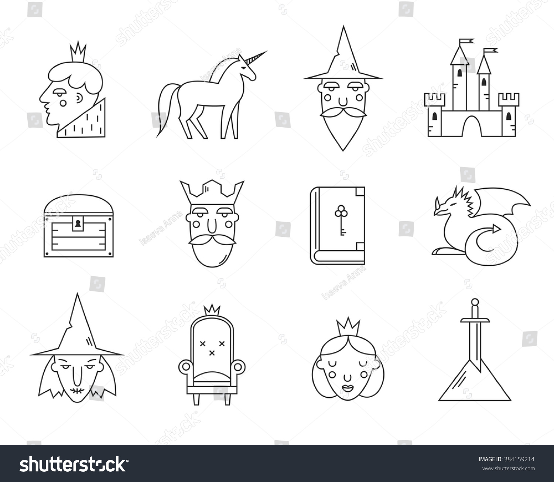 Fairy Tail Icons Set Vector Symbols Stock Vector Royalty Free