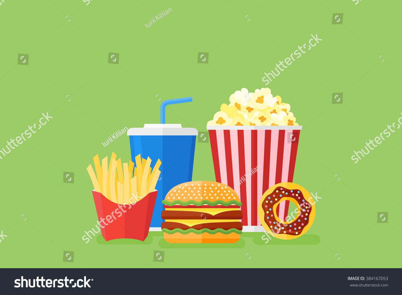 Fast Food Set Menu Yellow Gradient Background Fast Food: Illustration Burger French Fries Soda Popcorn Stock