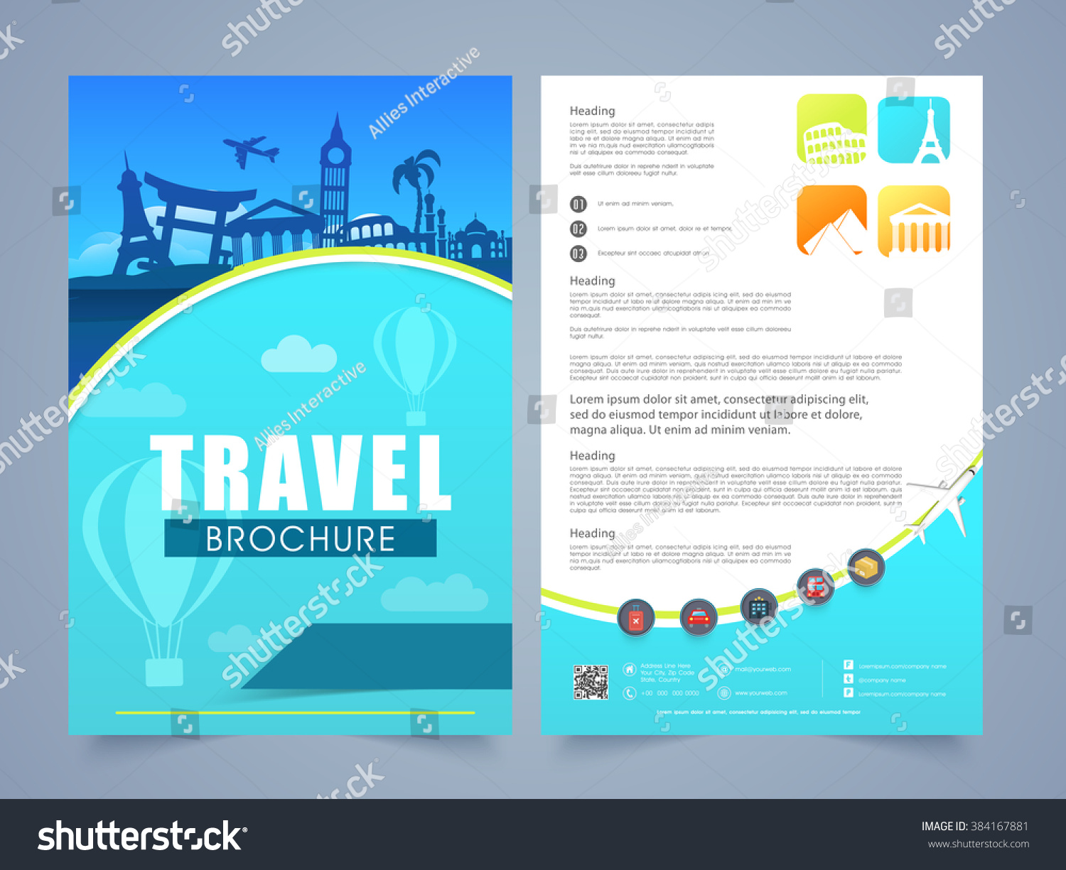 Two page brochure template flyer design stock vector for Brochure template for pages