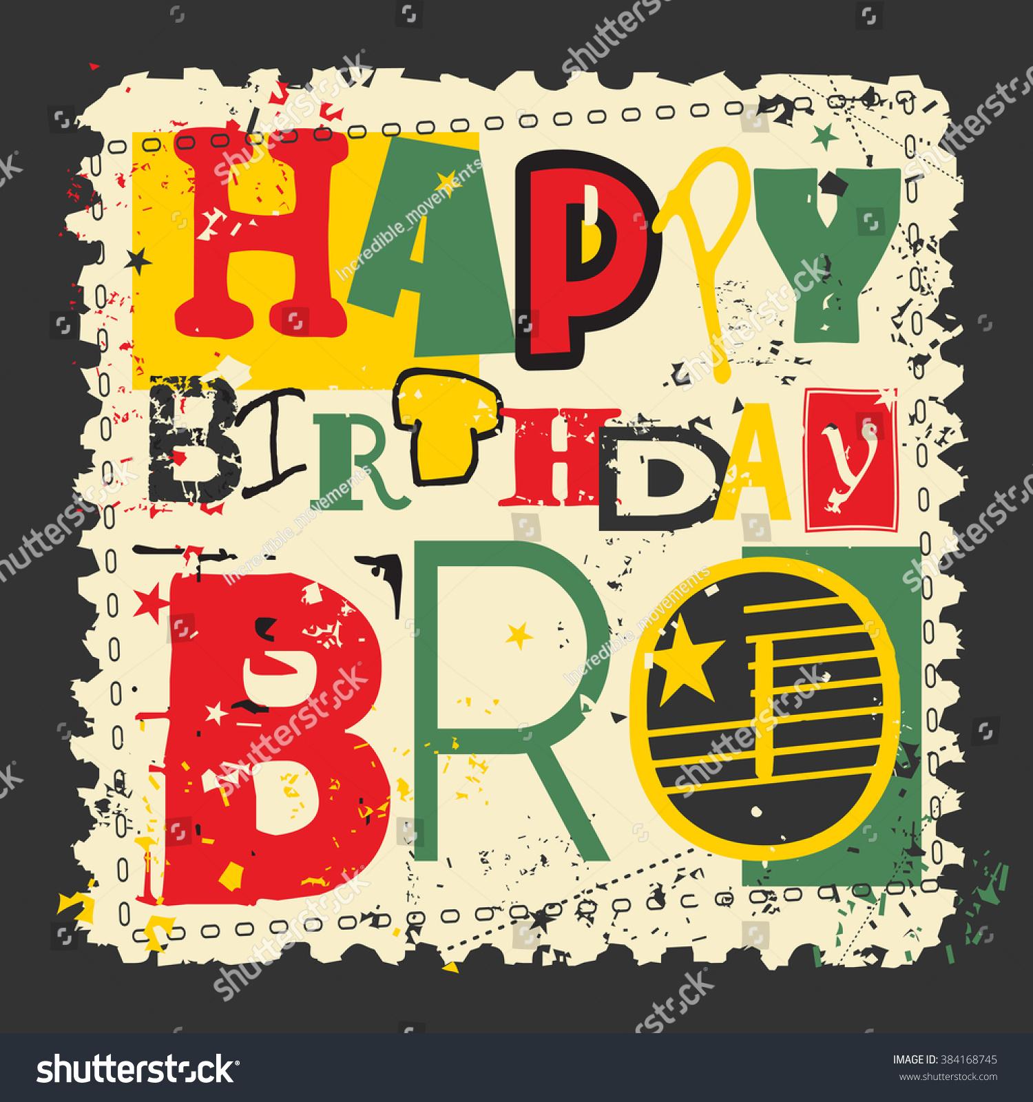Retro Happy Birthday Card Vector Illustration Stock Vector 384168745
