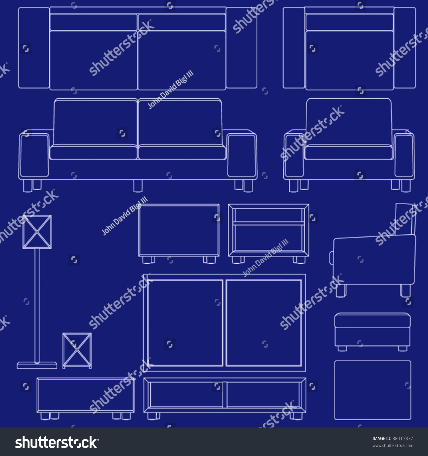Collection Living Room Furniture Blueprint Vector Stock Vector