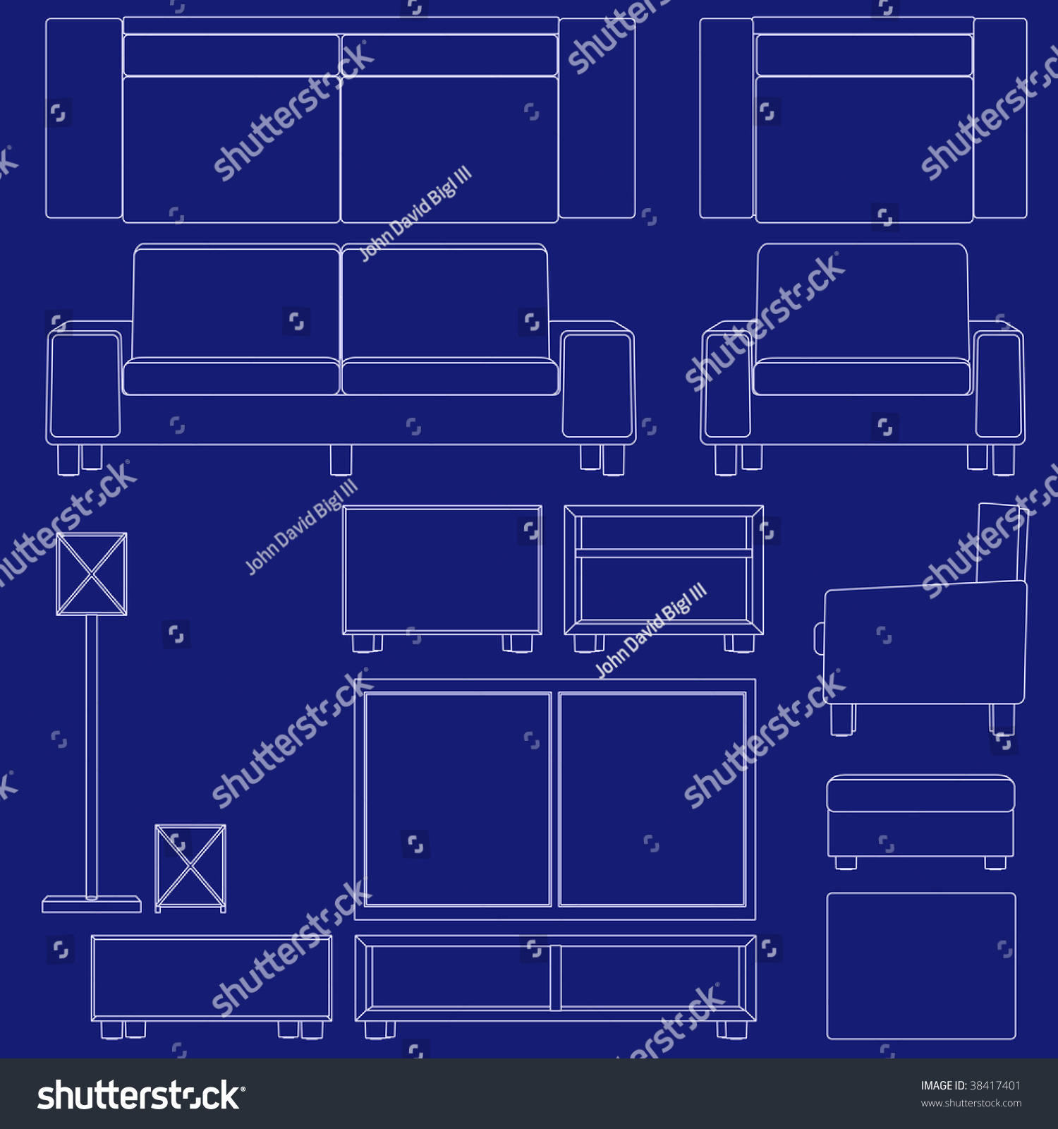 Blueprint living room furniture illustrations raster stock blueprint living room furniture illustrations raster malvernweather Images