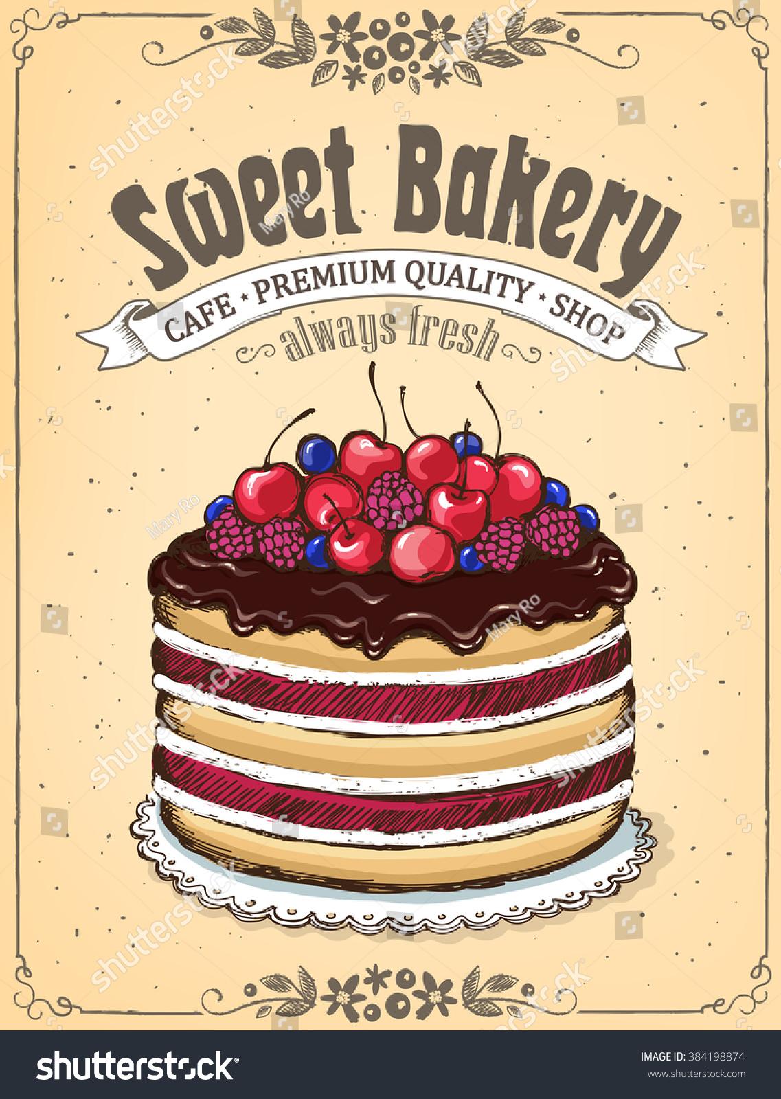 Chocolate Cake Berries Vintage Poster Sweet Stock Vector