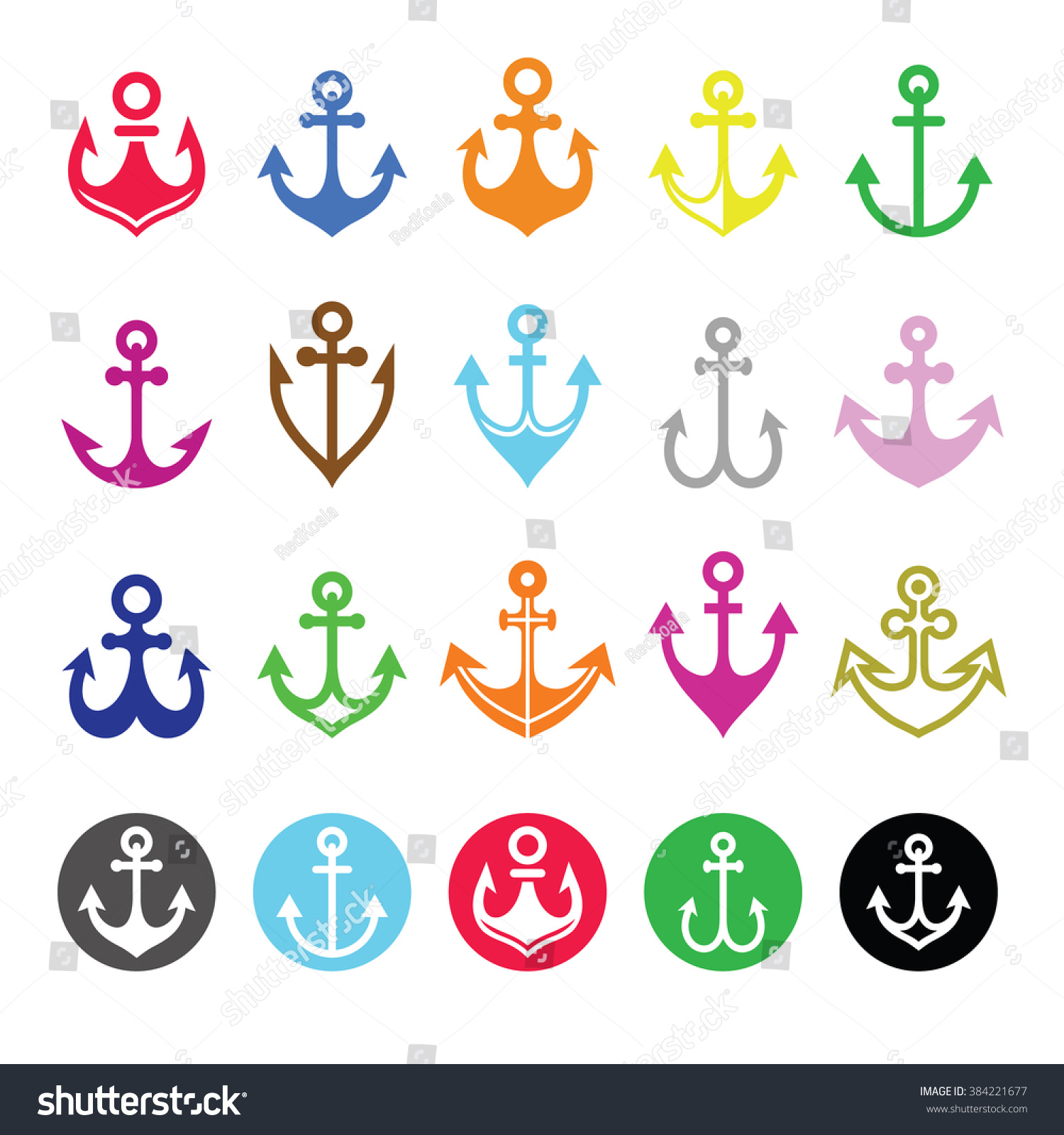 Anchor Icons Set Symbol Sailors Sea Stock Vector Royalty Free
