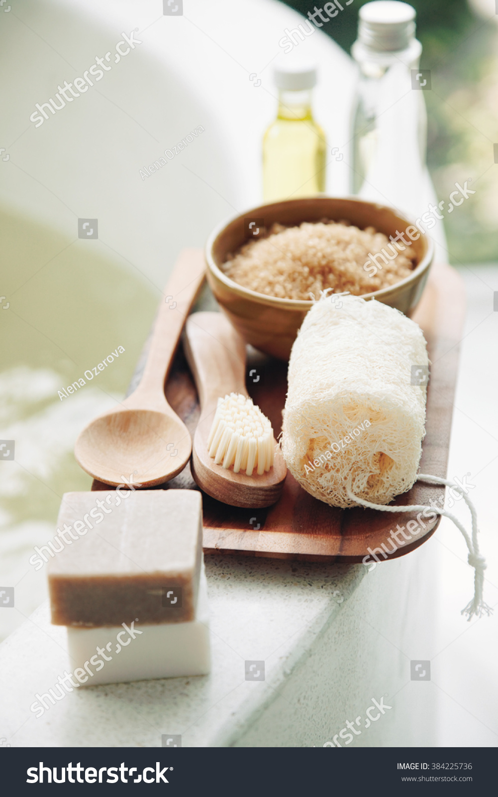 spa decoration, natural organic products on a bath. stock photo