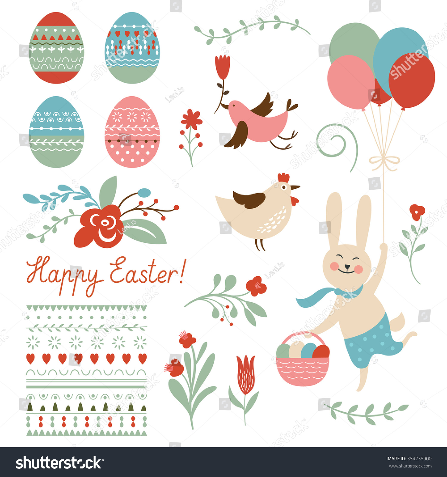 Happy Easter Graphic Elements Stock Vector 384235900 ...