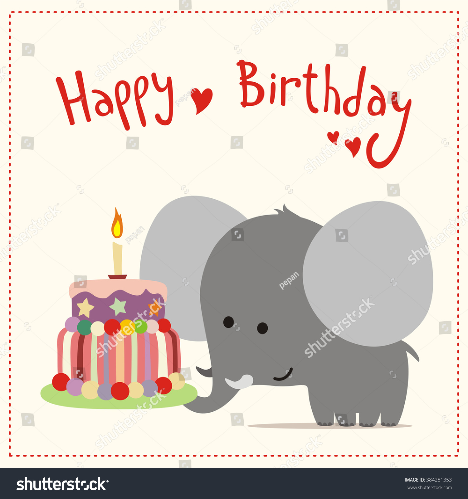 Happy Birthday Greeting Card Happy Birthday Stock Vector