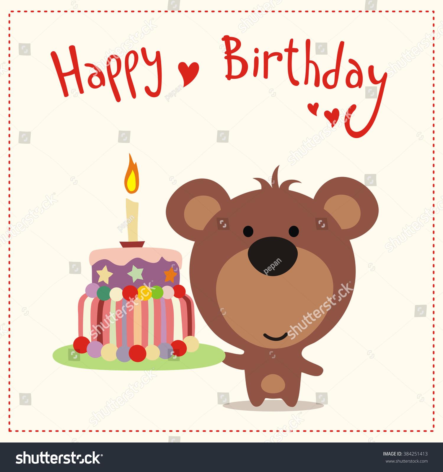 Greeting Card Happy Birthday Cute Little Stock Vektorgrafik