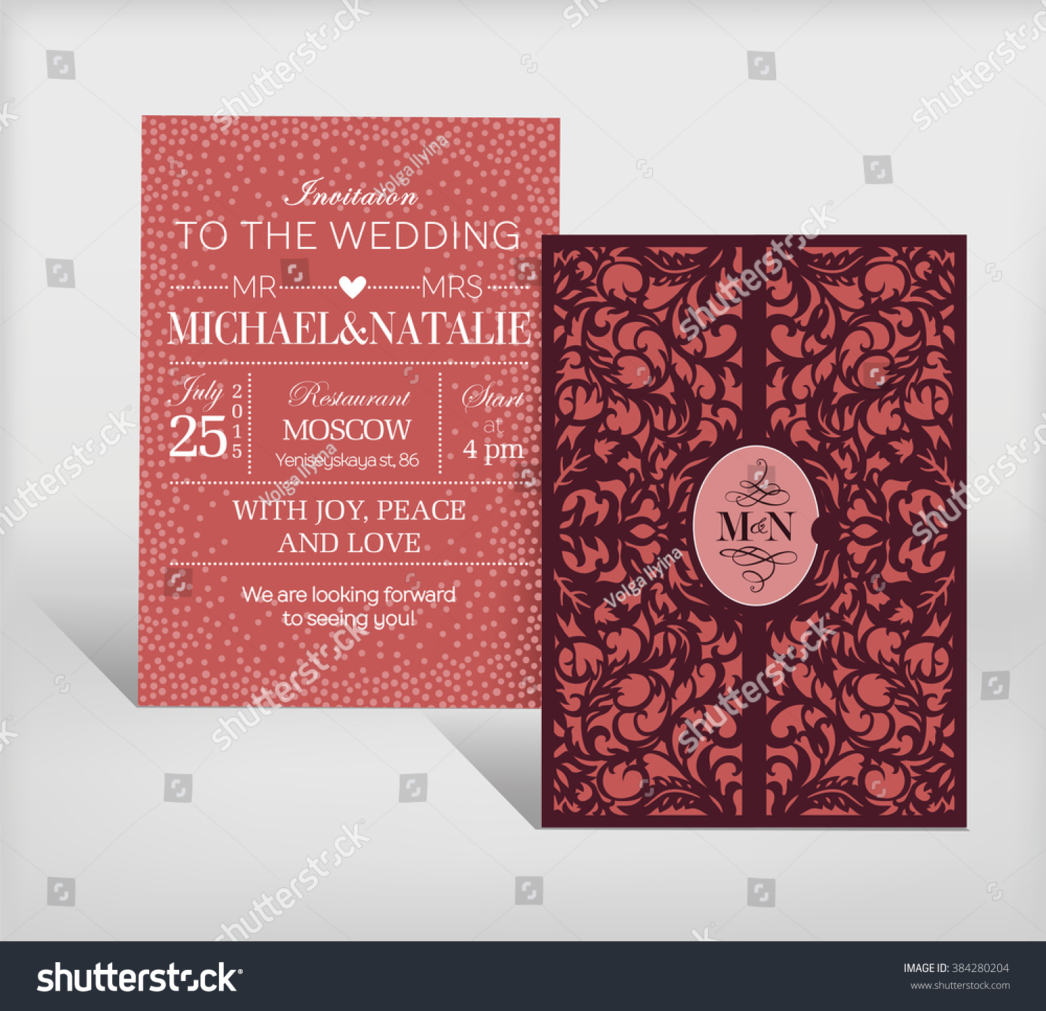 Curved Wedding Invitation Card Stock Vector (Royalty Free) 384280204 ...