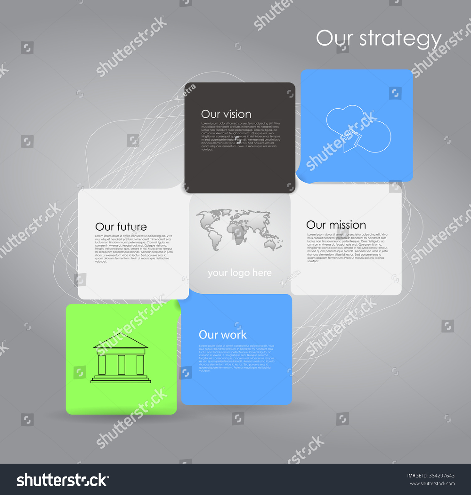 Vector Business Infographic Cube Bubbles Mission Stock Vector