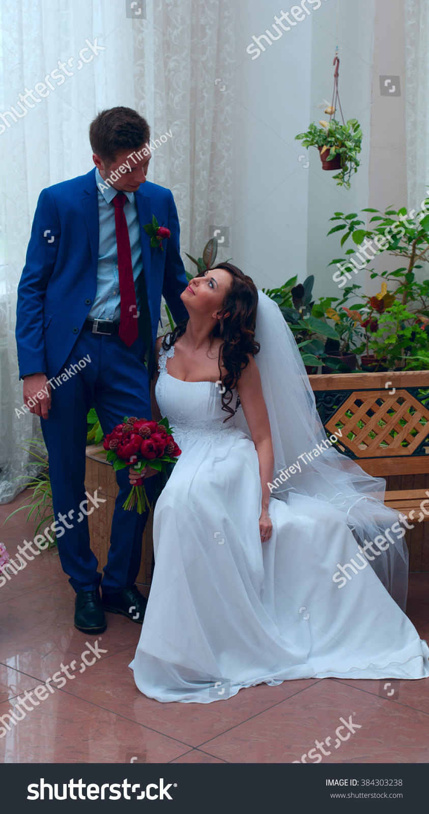 Groom Blue Suit Bride White Dress Stock Photo (Royalty Free ...
