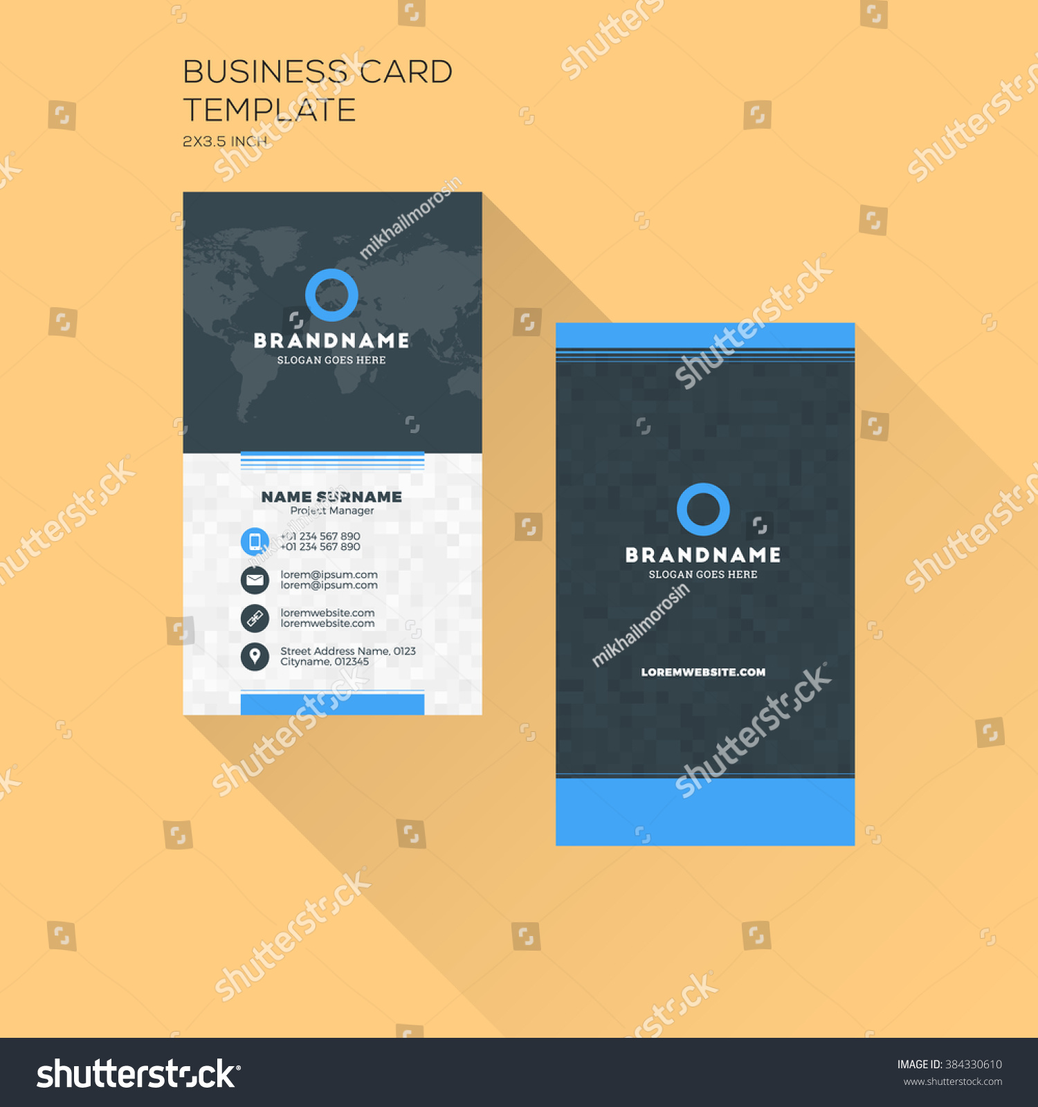 Vertical Business Card Print Template Personal Stock Vector - Vertical business card template