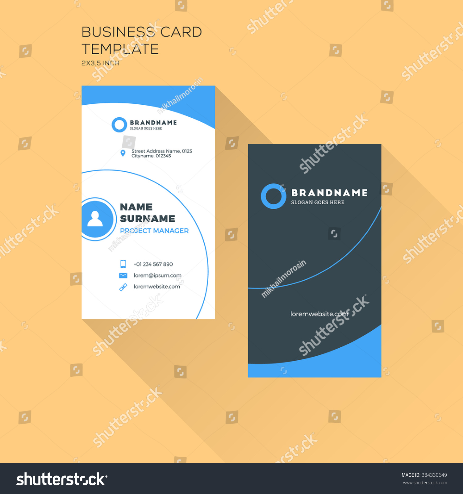 Vertical business card print template personal stock vector royalty vertical business card print template personal business card with company logo black and blue cheaphphosting Image collections