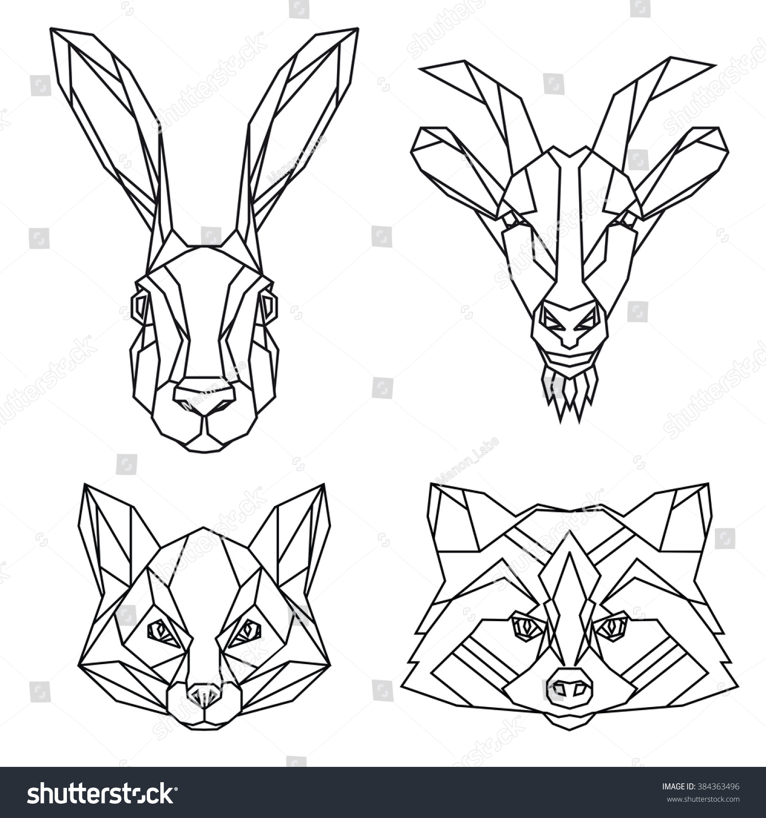 Geometric Set Hare Goat Fox Raccoon Stock Vector 384363496 ... - photo#46