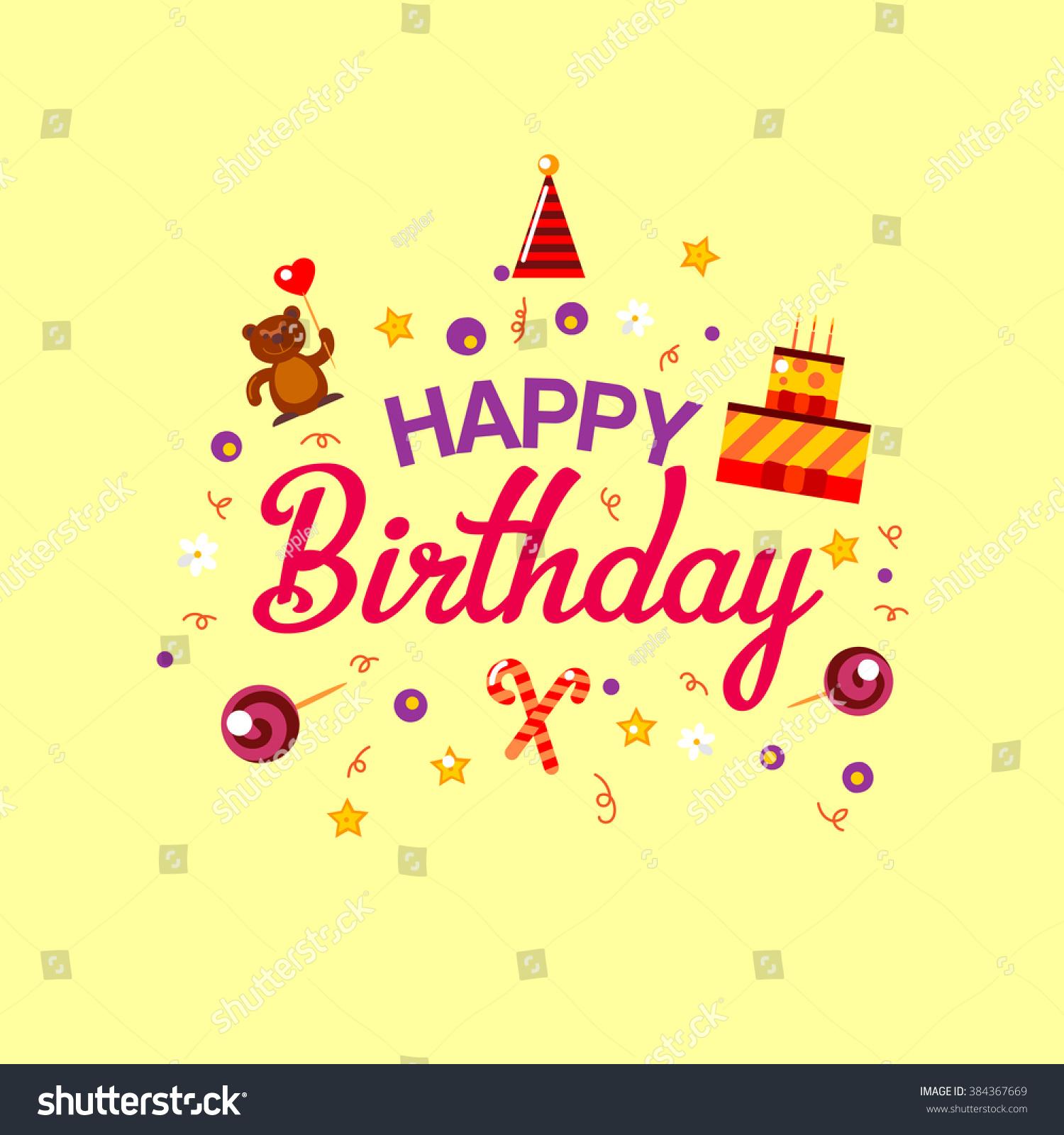 Happy Birthday Gift Card Cake Toys Stock Vector