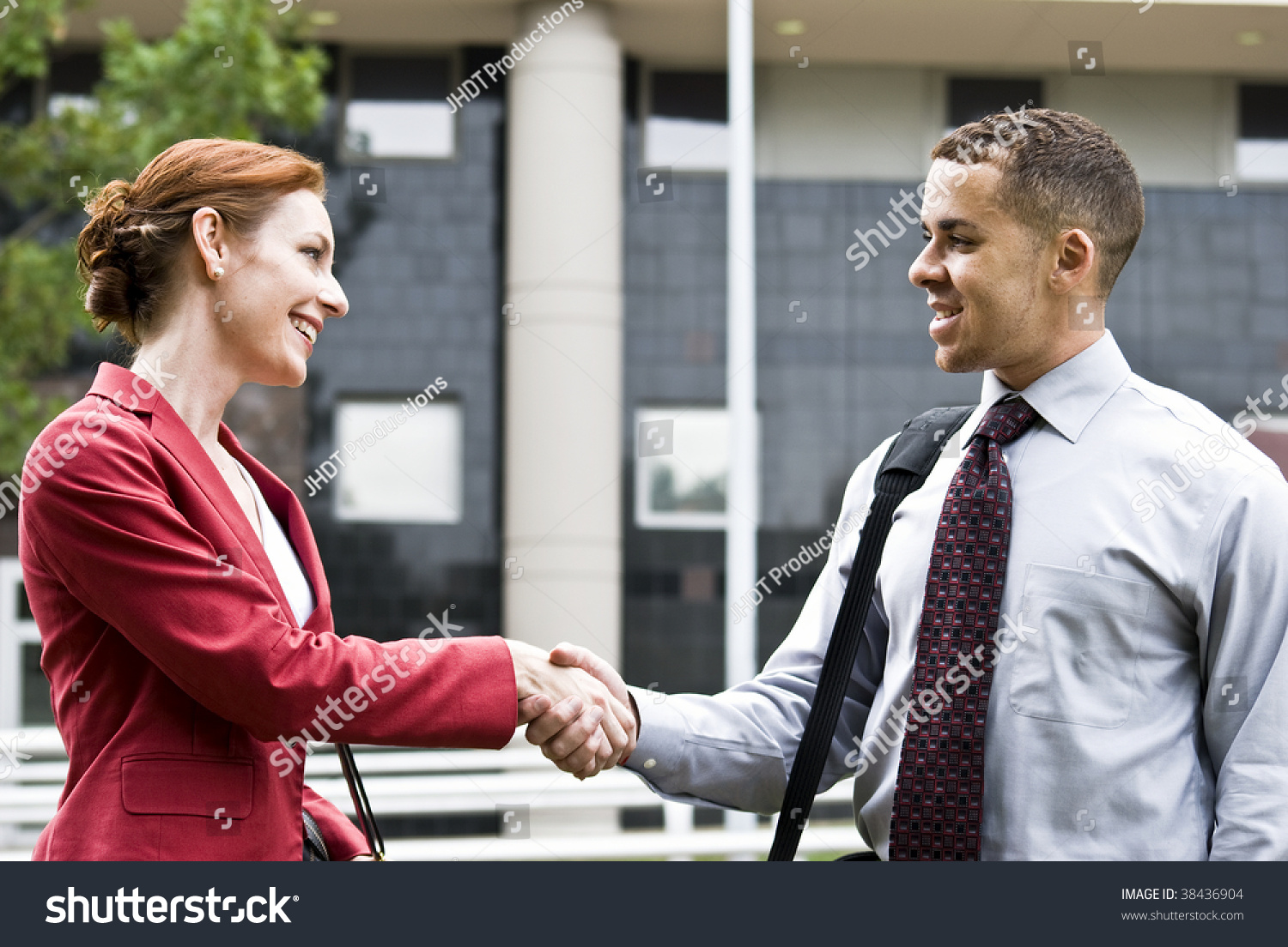 Two Business People Outside Downtown Building Stock Photo Edit Now