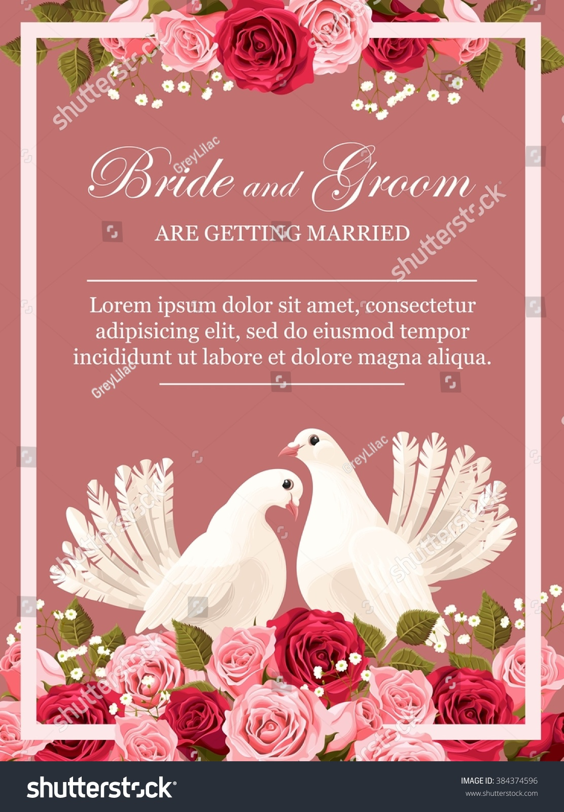 Wedding Invitation White Doves Stock Vector (Royalty Free) 384374596 ...