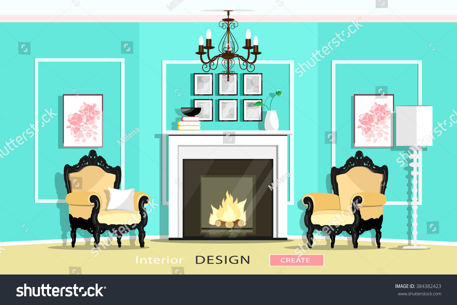 Create a living room illustration living room for Room creator