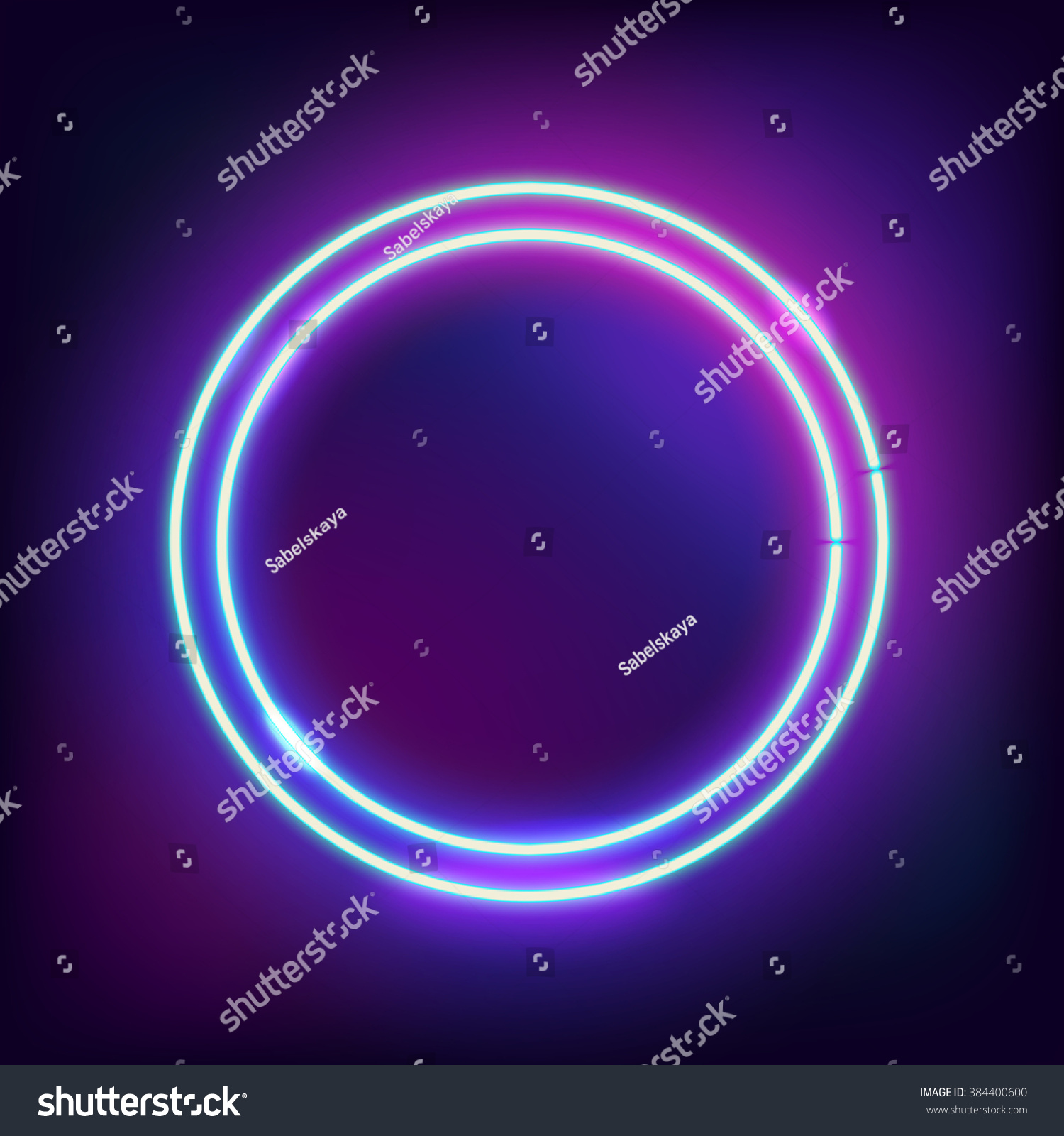 neon abstract round glowing frame vintage stock vector 384400600