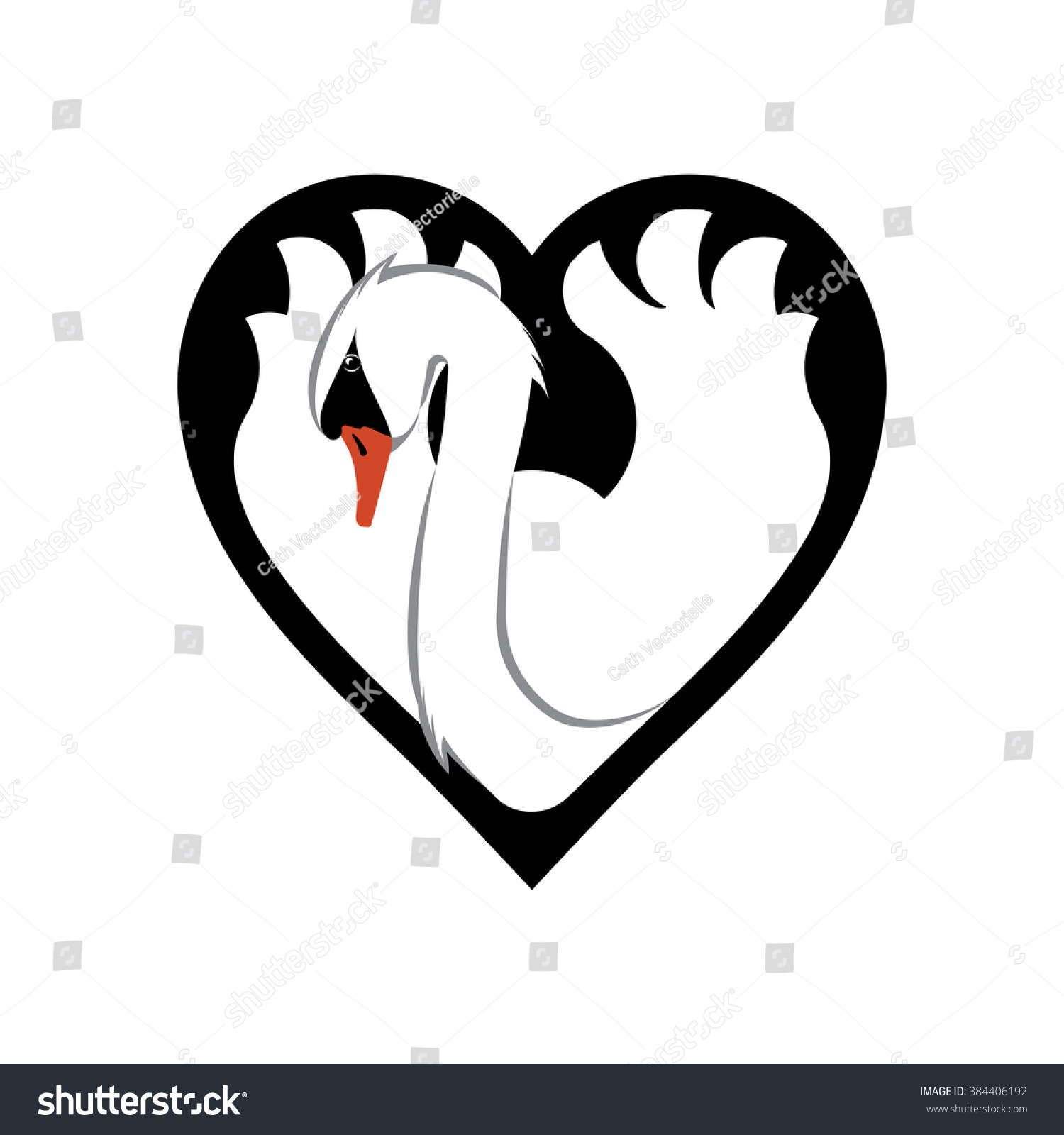 Swan Heart Shape Graceful Symbol Beauty Stock Vector Royalty Free